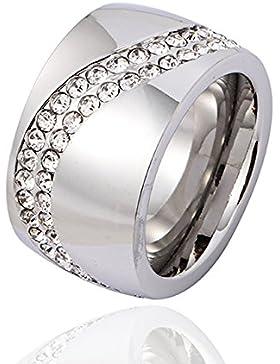 Ring Rush Edelstahl Ringe Damen strass frauen Schmuck silber gold ring Stein breite Breite Massive Rose