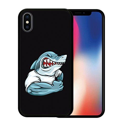 iPhone X Hülle, WoowCase Handyhülle Silikon für [ iPhone X ] Haifisch Maskottchen Handytasche Handy Cover Case Schutzhülle Flexible TPU - Schwarz Housse Gel iPhone X Schwarze D0054
