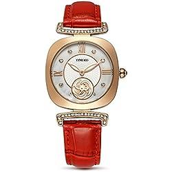 Time100Damen Armbanduhr quadratisch Mode Einfache Neue Bling Kristall Armband Rot Echt Leder # w80134l.03a