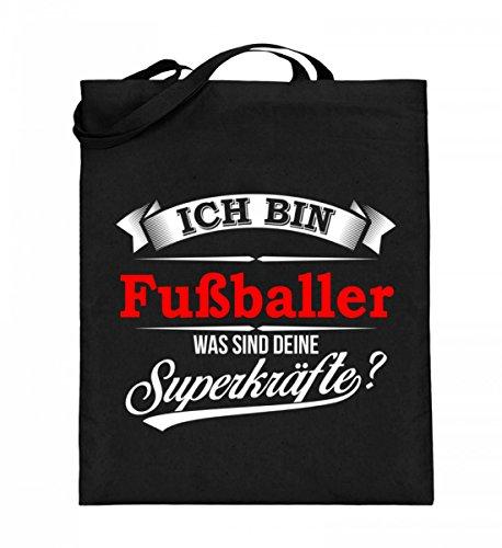 Hochwertiger Jutebeutel (mit langen Henkeln) - Fußballer Kicker Fußball Superkräfte Mannschaft Geschenk Schwarz