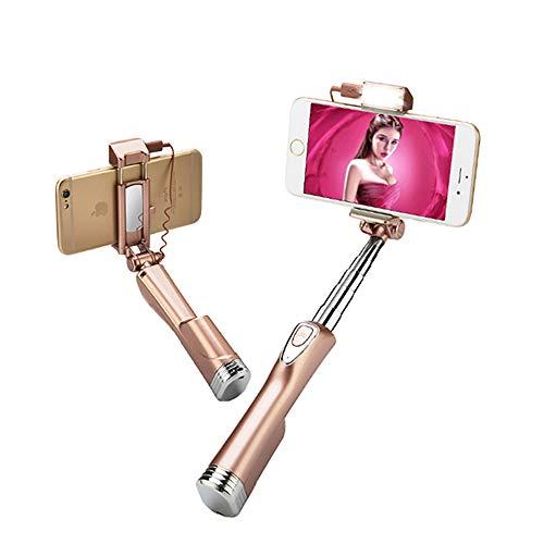 WeeLion Bluetooth Mini Selfie Stick, Handheld Expandable Monopod mit Rearview Mirror und LED Flash, für iPhone, Samsung Galaxy s7 Edge/s4 Android Phone (Rose Gold)