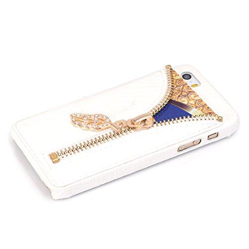 Cuitan Schutzhülle Hülle Handyhülle für Apple iPhone 6 Plus / 6S Plus 5.5 Zoll, PU-Leder + Harte PC Rückseitige Abdeckung, Krokodilmuster (Kartentasche mit Reißverschluss) Telefonkasten Case - Weiß Weiß
