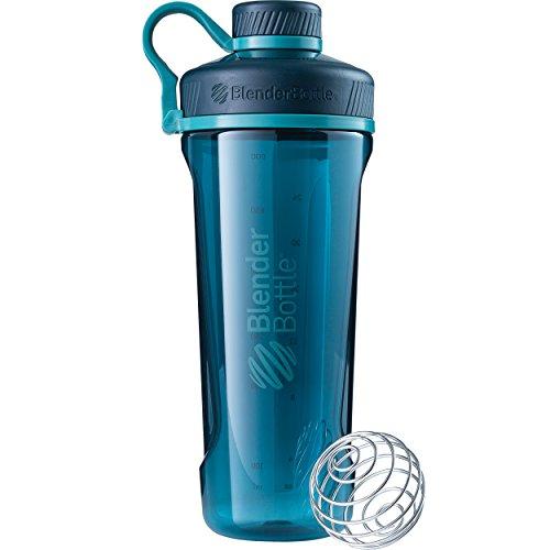 BlenderBottle Radian Wasserflasche| Protein Shaker| Diät Shaker| Fitness Shaker | BPA frei | mit BlenderBall | Tritan| Tritanflasche - deep sea green, 940ml , skaliert bis 800ml (Blender-ball-sport-mixer)