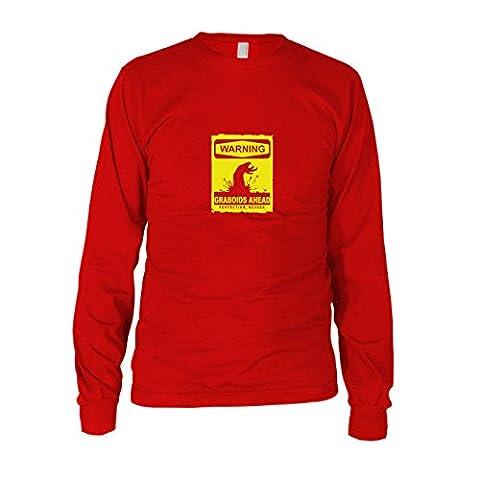 Warning Graboids - Herren Langarm T-Shirt, Größe: S, Farbe: rot (Wie Begann Weihnachten)