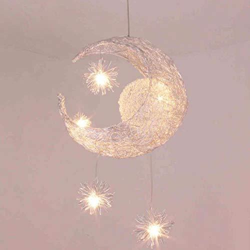 GaLon Pendelleuchten Aluminium - Seide, Star - Mond Kreative Persönlichkeit Kronleuchter Restaurant Schlafzimmer Warmes Licht Einfach Kinder Zimmer Lampen Und Laternen [Energieklasse A++] - Seide Schatten Tischleuchte