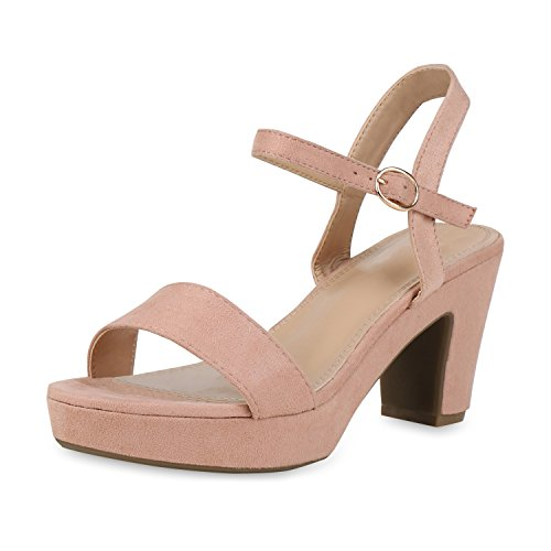 SCARPE VITA Damen Plateau Sandaletten Wildleder-Optik High Heels Schuhe 158295 Rosa Velours 37 (Rosa Abend Sandalen)