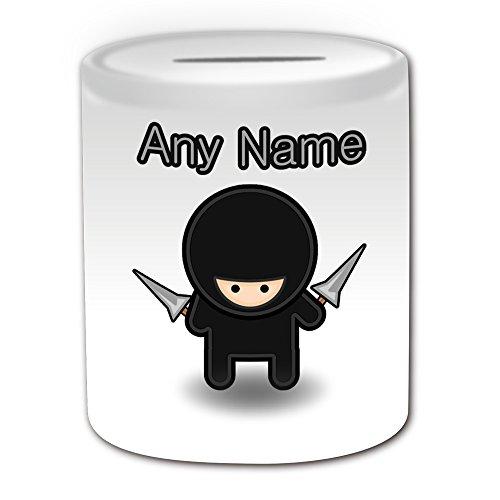 chenk-Ninja mit Seil Dart Spardose (Märchen Design Thema, weiß)-alle Nachricht/Name auf Ihre einzigartige ()