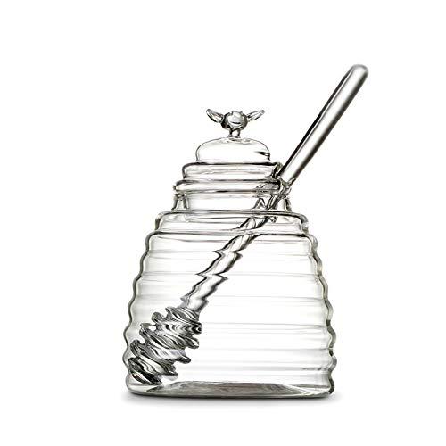 Glas Kostüm Honig - Frjjthchy Honigtopf aus klarem Borosilikatglas mit Dipper und staubdichtem Deckel für Zuhause und Küche