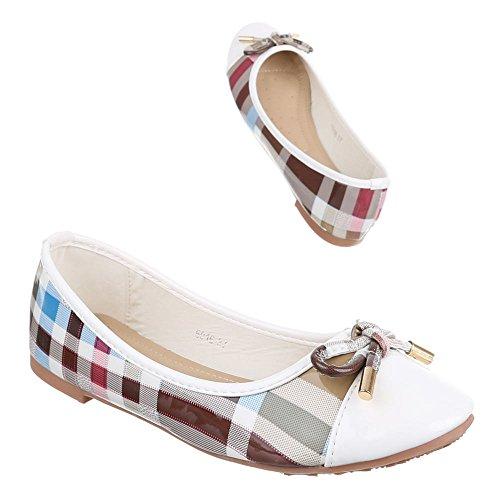 Damen Schuhe, 5016, BALLERINAS PUMPS Weiß