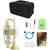 SM SunniMix Lade Professional Bb Flat Cornet Brass Instrument Con Guantes De Maletín