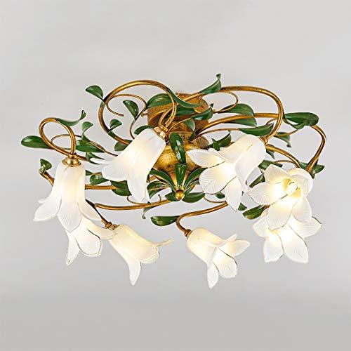 LHFJ Crystal Flush Mount Deckenleuchte, ländlichen Stil Blume Form Glasschirm Kronleuchter Beleuchtung für Wohnzimmer, Schlafzimmer, Oberfläche Antik-Finish,A (Crystal Flush Mount Beleuchtung)