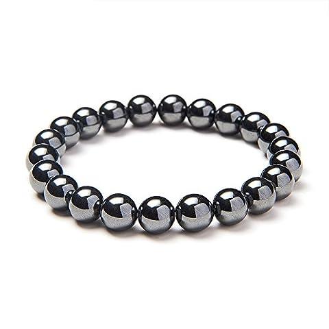 Sunnyclue Sparkling synthétique pierres de hématite Guérison Bracelet stretch Perles rondes 8 mm environ 17,8 cm Unisexe