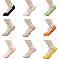 10 Pares Calcetines Invisibles Mujer De Algodón Calcetines Cortos Elástco Con Silicona Antideslizante (4)