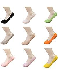 10 Pares Calcetines Invisibles Mujer De Algodón Calcetines Cortos Elástco Con Silicona Antideslizante