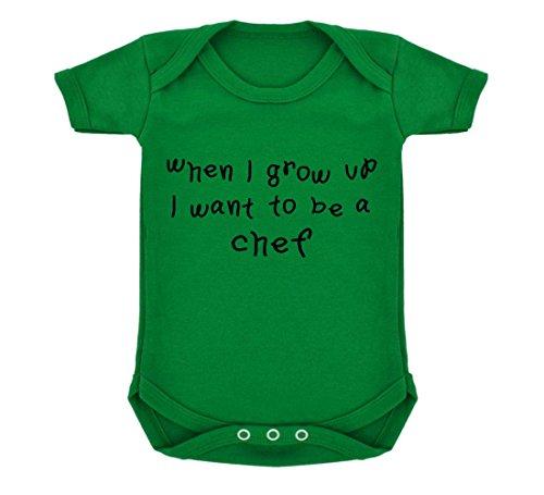 t To Be A Chef Design Baby Body Smaragd Grün mit Schwarz Print Gr. 6-12 Monate, grün ()