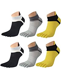 Saisiyiky 3 Par Los Hombres de Malla Meias Deportes Correr Calcetines del Dedo del pie Color