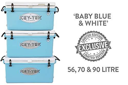Icey-tek - Nevera portátil 70 litros, Larga duración, hasta 10 días, Azul y Blanco Bebé, 70 Litre...