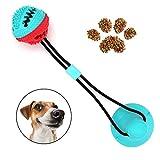 WeyTy Multifunktionale Pet Molar Biss Spielzeug, Selbstansaugendes Gummiballspielzeug mit Saugnapf - ungiftige Zahnpflege aus Naturkautschuk - Zahnreinigungswerkzeug für Hunde und Katzen