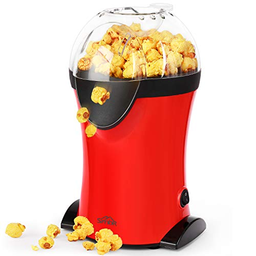 SIMBR Máquina Palomitas Vintage 1200W Palomitero con Velocidad Máxima de 3 Min Pop Corn Maker sin Grasa ni Aceite Libre de BPA