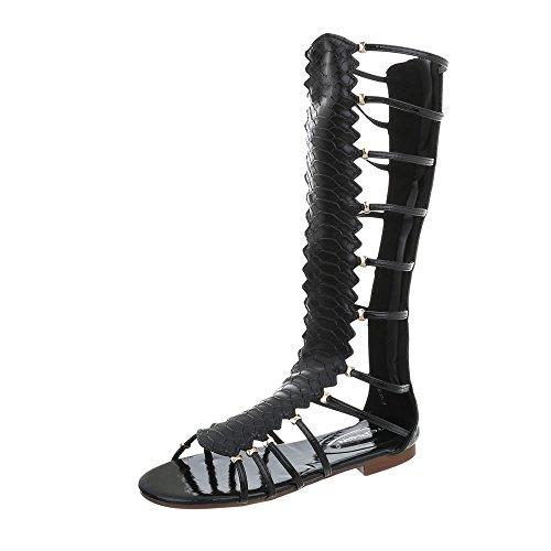 Ital-Design Riemchensandalen Damen-Schuhe Blockabsatz Riemchen Reißverschluss Sandalen Sandaletten Schwarz, Gr 38, Jc-174-