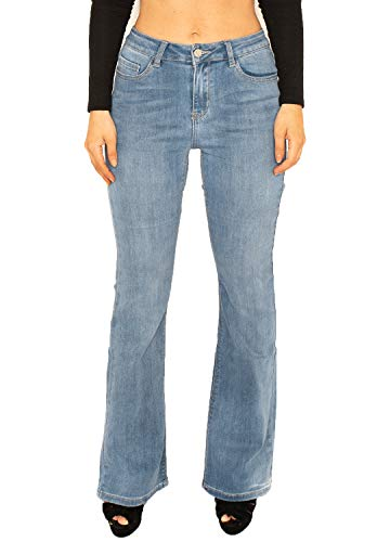 08e0c28223f Cindy H Faded Mid Rise Stretch Denim Flared Bootcut Jeans - Light Blue (14)