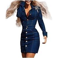 MXJEEIO Chandal Conjunto de chándal Mujer Invierno otoño Vestidos de Fiesta para Bodas Faldas de Vaqueros, Manga Larga Jeans 2 Piezas Denim Tops de Manga Larga Blusa + Conjuntos de Falda