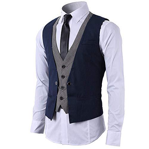 STTLZMC Mode Gilet Hommes Costume Veste sans Manches Business Casual Mariage Bleu foncé L