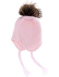 HuntGold bébé chapeau tricoté casquettes chaud hiver boules de poils bonnet d'enfant rose