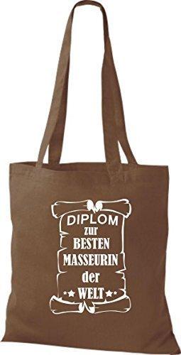 shirtstown Borsa di stoffa DIPLOM A MIGLIOR masseurin DEL MONDO Marrone chiaro