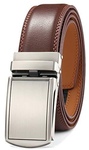 GFG Cinturón de cuero para hombres con hebilla automática 35mm Ancho-0041-140-Marrón