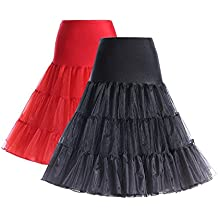 BOOLAVARD 50s Petticoat Underskirt Retro Vintage 1950s Rockabilly White, Black, Red