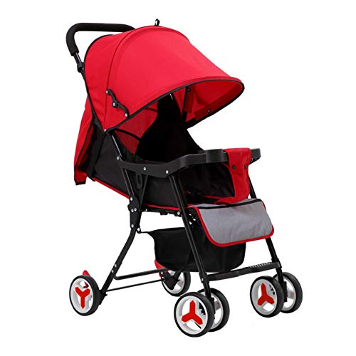 Leichter Klappkinderwagen Zum Sitzen Liegender Kinderwagen Rot