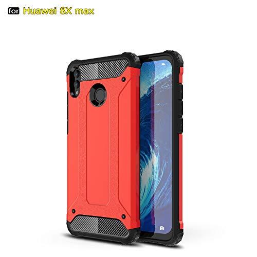 SANHENGMIAO COVER Für Huawei Handy Schwerlast gepanzerte Hartpanzer-Doppelhülle aus Hartpanzer für TPU + PCU + Schutzhülle für Huawei Honor 8X Max (Farbe : Rot) -