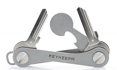 """KEYKEEPA® V2 (Edelstahl) - Design Key Organizer für bis zu 12 Schlüssel - inklusive Einkaufswagenchip, Flaschenöffner, Öse - Schlüsselhalter \""""Made in Germany"""