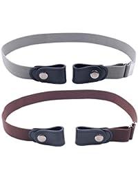 Healifty 2 Piezas Pantalones elásticos Extensores de Cintura Cinturones Ajustables para Pantalones Vaqueros Vestido café Gris