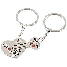 2babadfeeaae Key en acier inoxydable à Cupidon Keychain de coeur porte-clés Ensemble  pour des amoureux