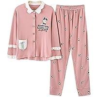 DUKUNKUN Ropa De Casa Pijama Volantes Conjunto De Algodón De Manga Larga Pantalones Elásticos Cintura-S
