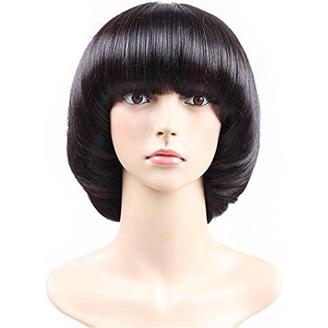 ZZHH Hongos cabeza peluca de moda femenina realista a corto peluca