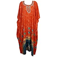 Mogul Interior Women Caftan Dress Orange Printed Soft Maxi Kimono Kaftan One Size