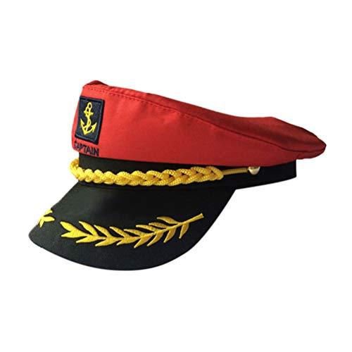 Amosfun Kapitänshut Verstellbare Yacht Kapitänskappe Matrosen Seekappe Marinekapitänhut Cosplay Halloween Kostüme Hut für Erwachsene