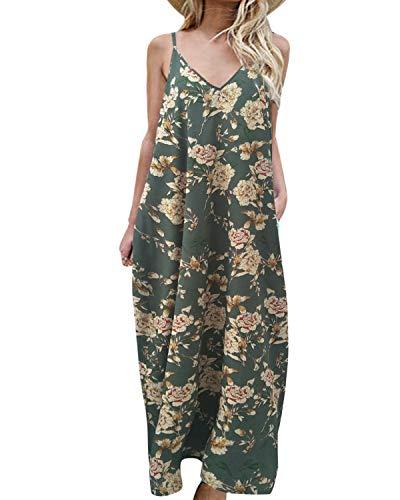 kenoce Robe Longue Bohème Femme Robe de Plage d'été Floral à Bretelles Casual T-Shirt Robe Grande Taille Col en V Imprimée Chic Robe Tunique Lâche, B-vert, S