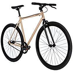 Moma Bikes Bicicleta Fixie Urbana, Fixie BeigeFixed Gear & Single Speed (Varias Tallas)
