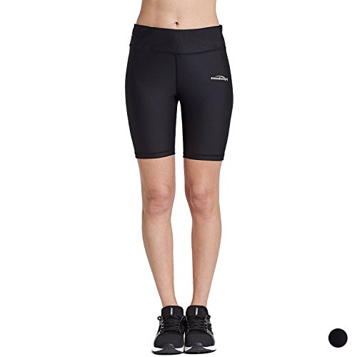 COOLOMG Damen Shorts Leggings Kurz Yoga Sport Training Fitness Schwarz M
