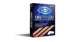 MINDTHEGUM Integratore per Concentrazione, Memoria e Stanchezza Mentale in Gomma con Caffeina, Vitamine, Minerali, Fosforo – 9 chewing gum
