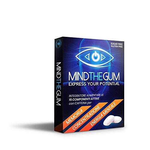 MINDTHEGUM Integratore per Concentrazione, Memoria e Stanchezza Mentale in Gomma con Caffeina, Teanina, Vitamine, Minerali - 9 Gomme