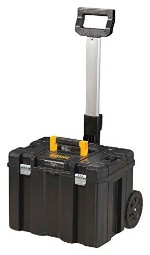 Stanley FatMax Mobile Werkzeugbox / Werkzeugkoffer TSTAK (zum Aufbewahren und Transportieren, Teleskophandgriff, Komfortgriff, Metallschließen, Ösen für Vorhängeschloss, Etikettenhalter) FMST1-75753 (Schwarz-mobile-tool-box)