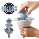 KINJOHI 4 -teilig Kunststoff-Trichter Small Medium Large Variety Flüssigöl-Küchen-Set Vier-in-Eins-Multifunktions-Trichtersatz, Trichter Küche mit Sieb