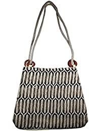 Salvus App SOLUTIONS Black & White Beautifully Handmade Jute Hand Bag For Women/Girls