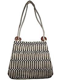 Salvus App SOLUTIONS Black & White Beautifully Handmade Jute Hand Bag For Women/Girls