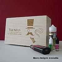 Large personalised vape accessory storage box. Engraved wooden vaping trunk